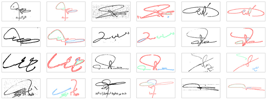 Examples of detected signatures from the Maryland Arabic dataset.