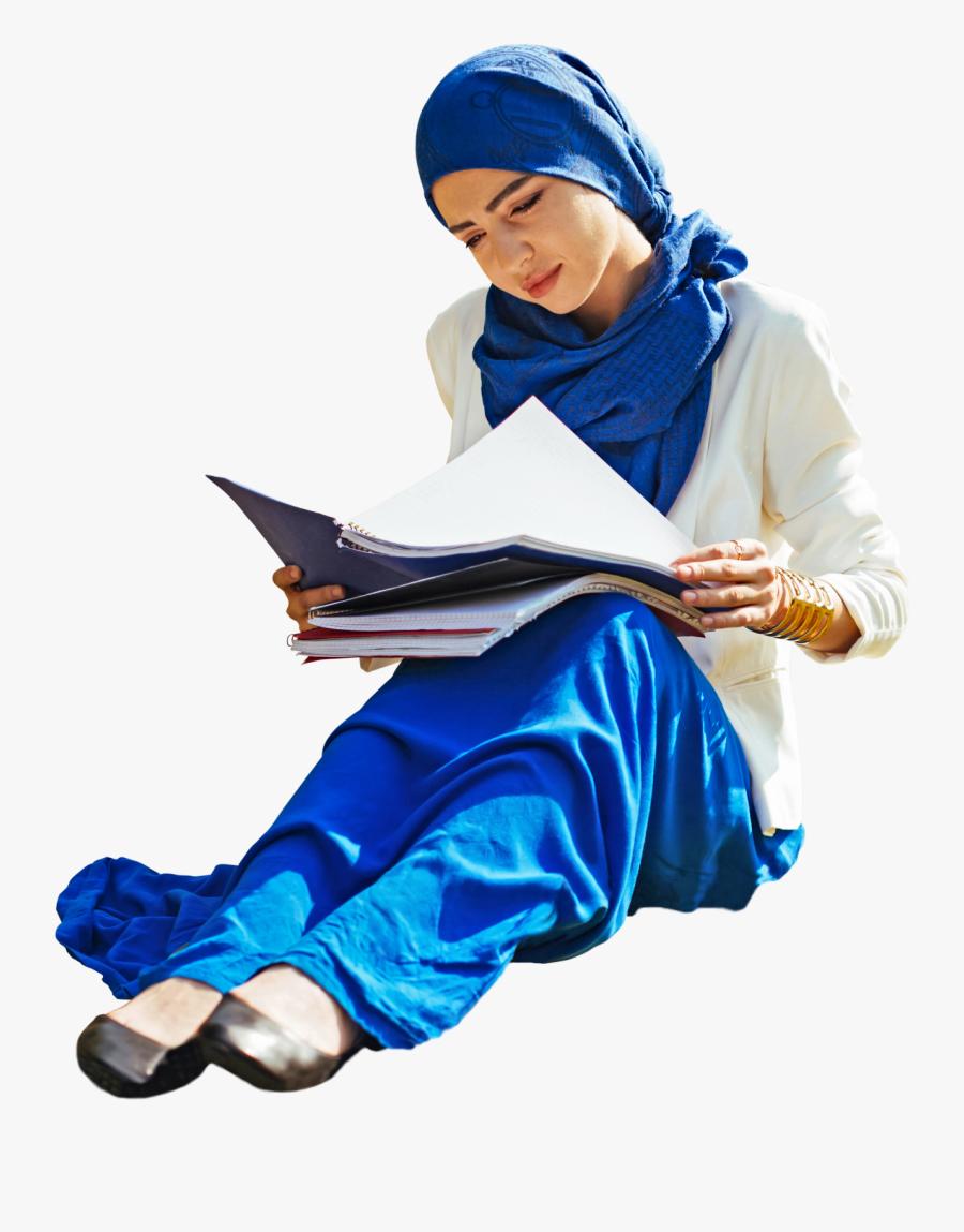 Woman Student Sitting Arab.