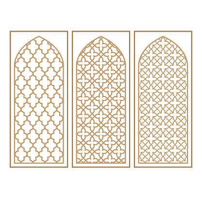 Traditional Arabic Window and Door Pattern, vector set.