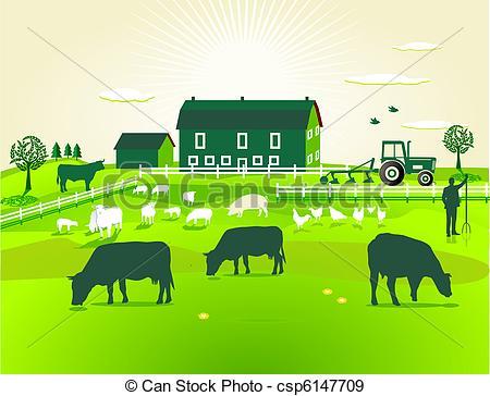 EPS Vectors of green Farm csp6147709.