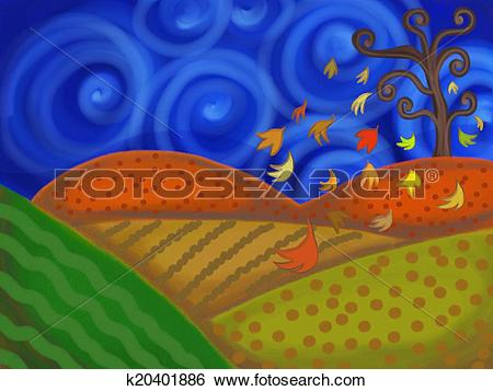 Stock Illustration of Arable Landscape k20401886.