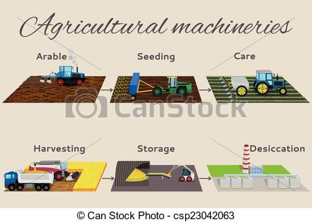 Clip Art Vector of Illustration of the process of growing and.