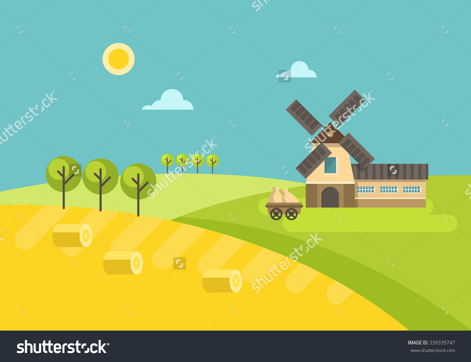Flat Design Rural Landscape Illustration Mill Stock Vector.