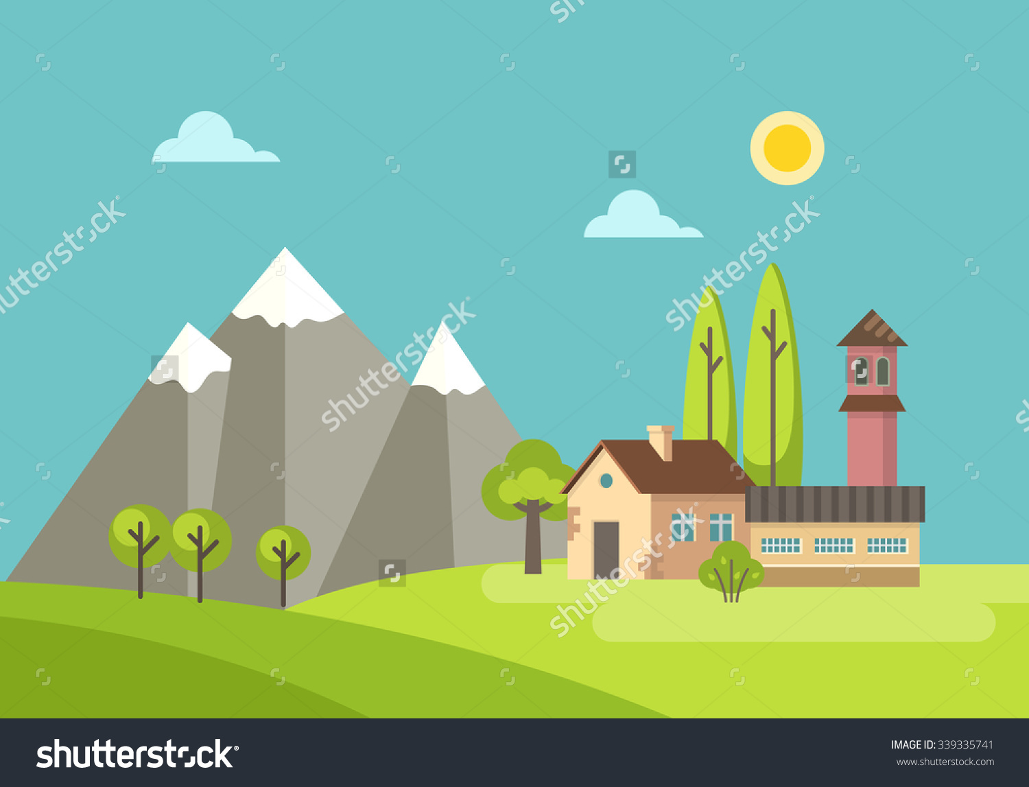Flat Design Rural Landscape Illustration Country Stock Vector.