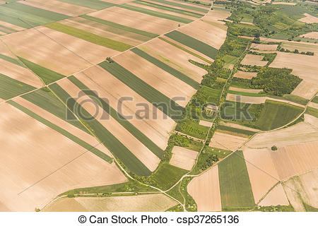 Stock Photos of Arable land in Voijvodina photographed from air.