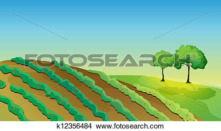 Clipart of Agricultural land and trees k12356484.