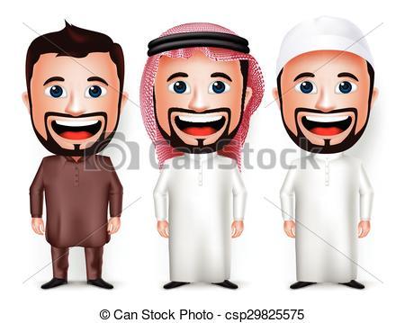 Vectors Illustration of Saudi Arab Man Cartoon Character.