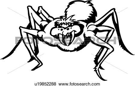 Clip Art of , animal, arachnid, arachnoid, fang, spider, venom.