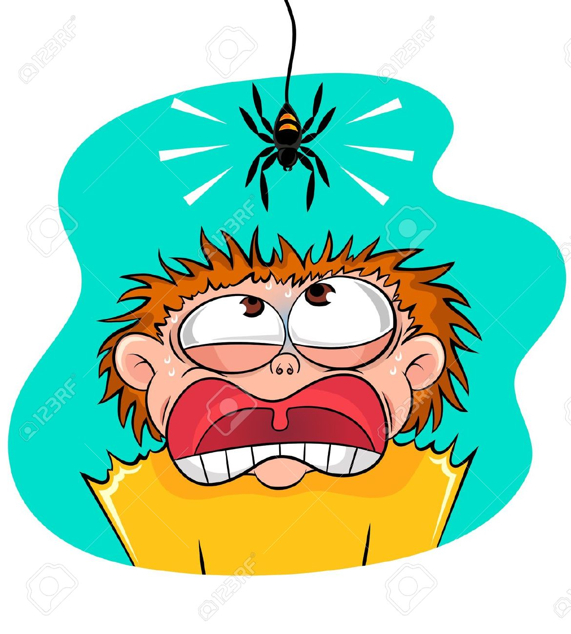 Boy Scared Of Spider Royalty Free Cliparts, Vectors, And Stock.