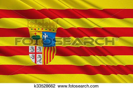 Clip Art of Flag of Aragon, Spain k33528662.