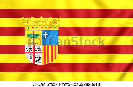 Clipart of Flag of Aragon, Spain..