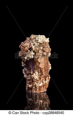 Stock Photo of Aragonite gemstone with reflection, black.