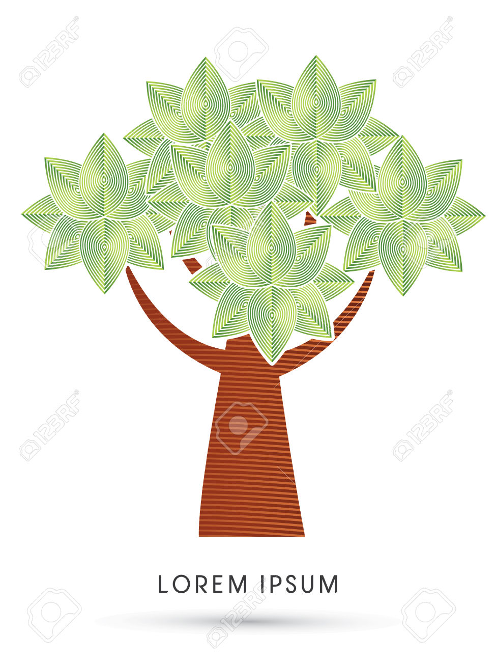 Modern Tree Leaf Designed Using Geometric Line Graphic Logo Symbol.