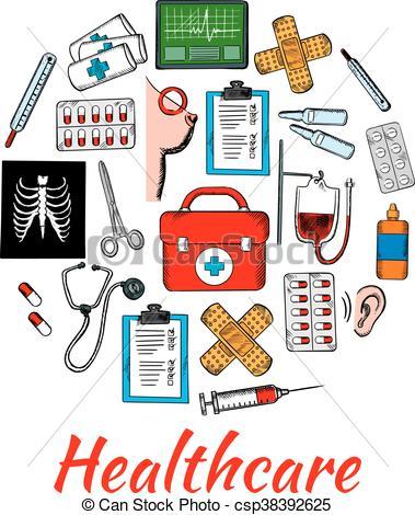 Vektor Illustration von Medizin, Healthcare, arrangiert, Kreis.