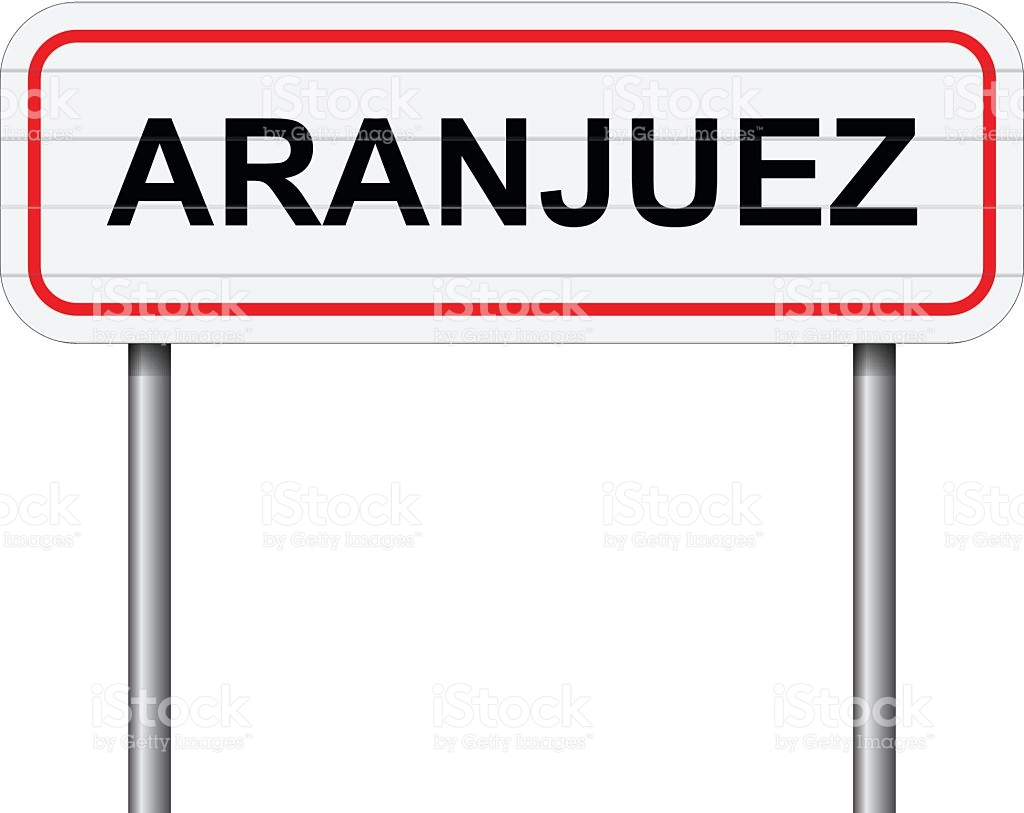 Welcome To Aranjuez Spain Road Sign Vector stock vector art.