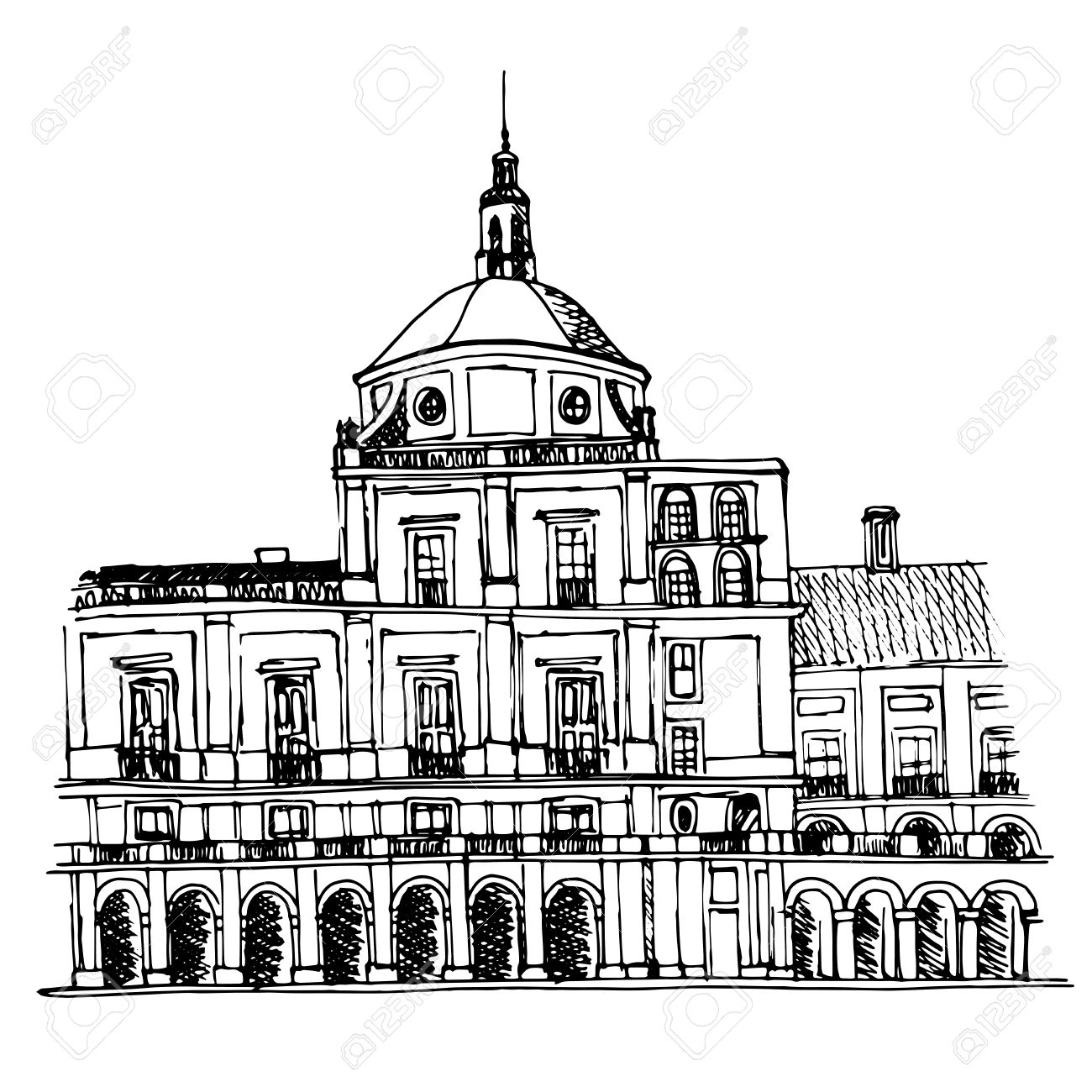 Urban Sketch Of The Royal Palace In Aranjuez Royalty Free Cliparts.