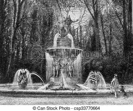 Stock Illustration of The Narcissus fountain in the gardens of.
