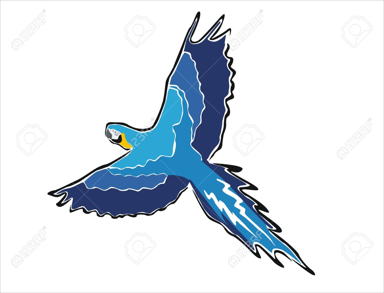 Desenho De Uma Arara Azul Do Vôo Royalty Free Cliparts, Vetores, E.