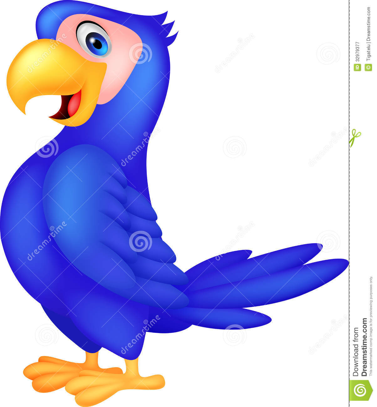 Cute Blue Parrot Cartoon Royalty Free Stock Photography.