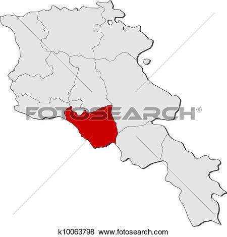 Clip Art of Map of Armenia, Ararat highlighted k10063798.
