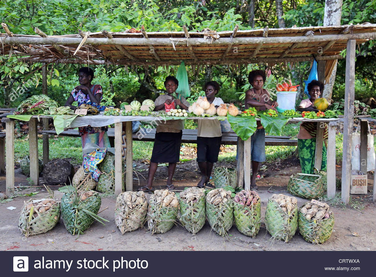 women behind a market stall on the road to Arawa, Bougainville Stock.