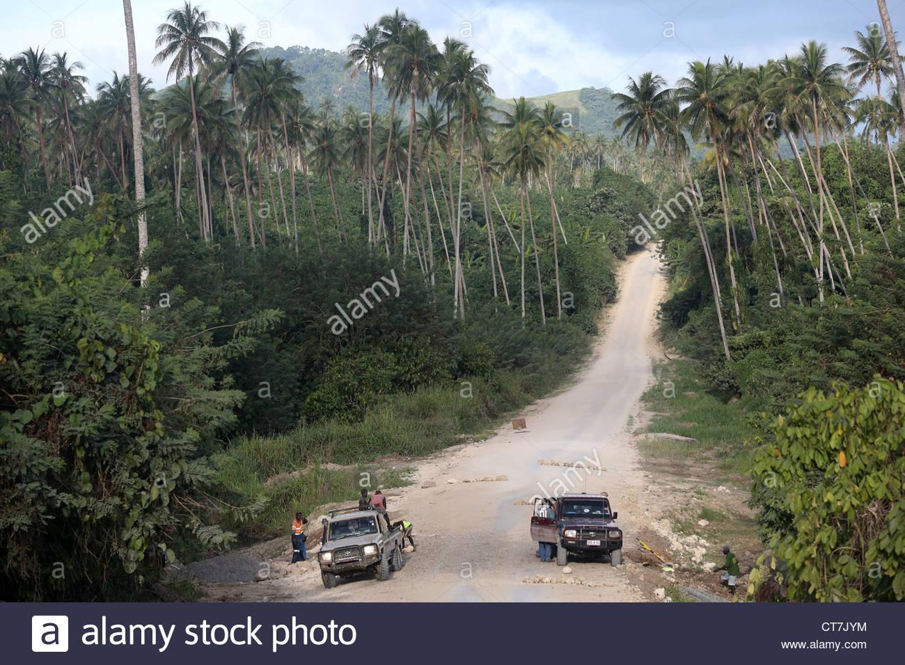 Road to Arawa, Bougainville island, Papua New Guinea Stock Photo.