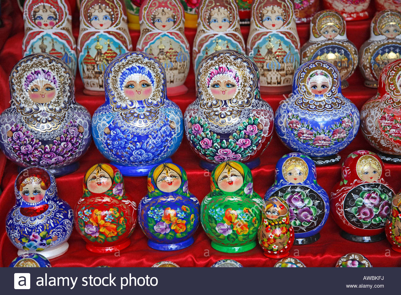 Russia, Moscow, Arbat Street, Traditional Russian Dolls Stock.