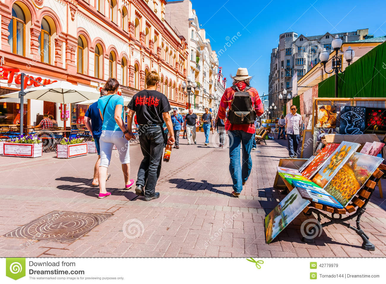 People Walk Along Arbat Street Of Moscow Editorial Stock Image.