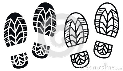 Work Boots Print, Vector Illustration Stock Vector.