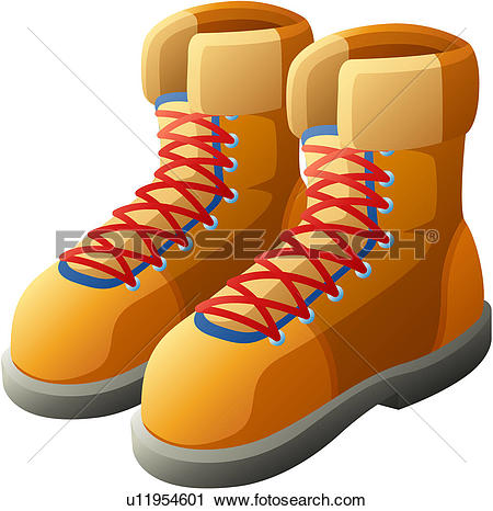 Clipart of walkers, traveling, leather boots, mountain.