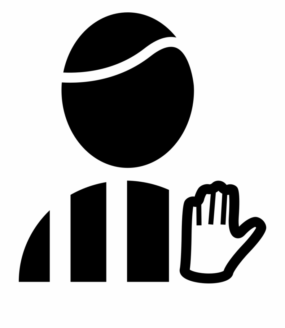 Football Referee With Hand Signal Comments.