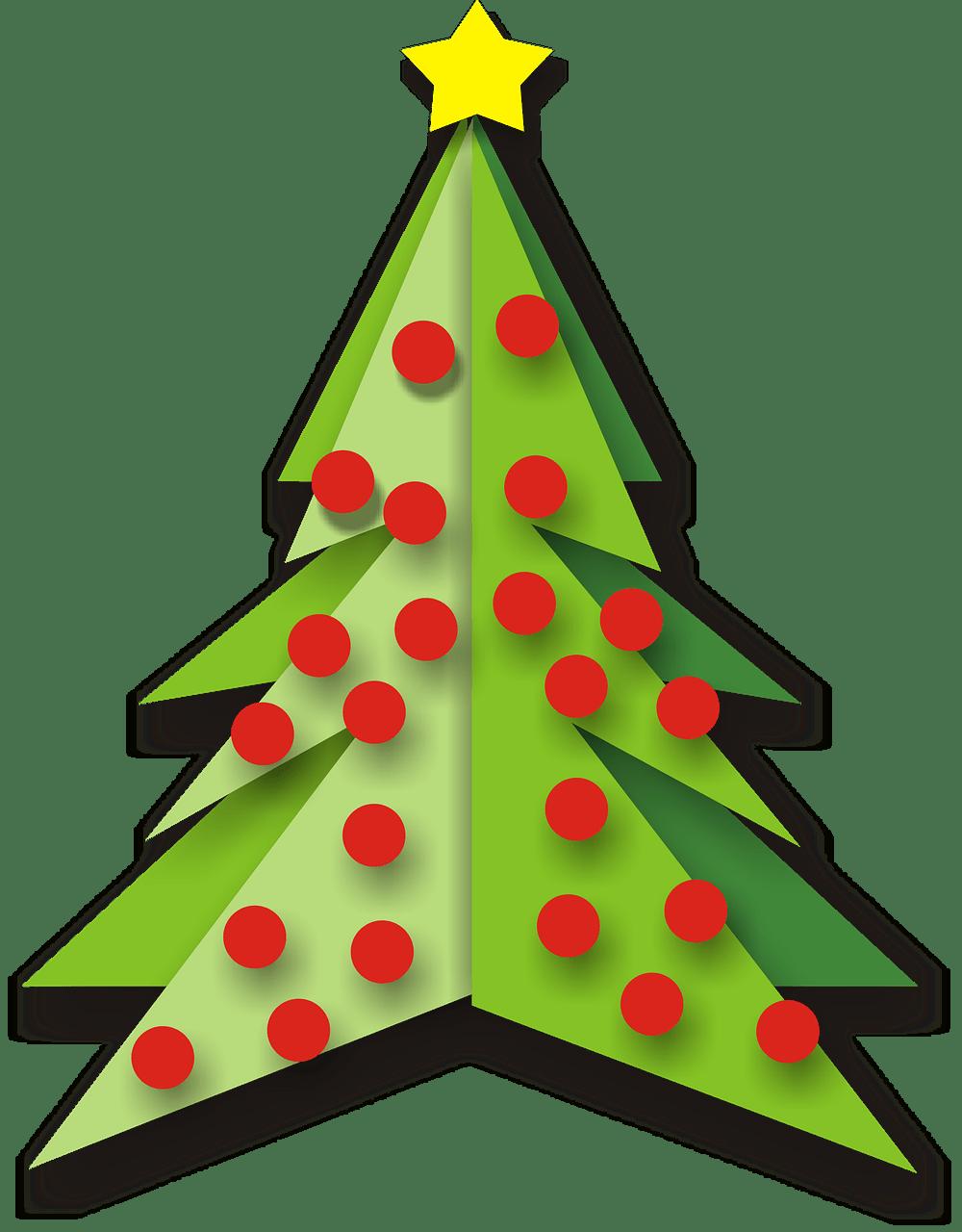 Árbol de Navidad con Bolas Rojas Clipart PNG transparente.