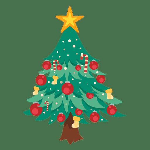 Decoración de dibujos animados de árbol de navidad.