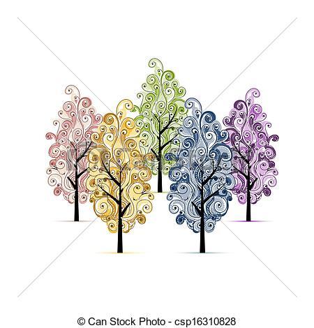 Ilustraciones de Vectores de arboleda, diseño, su, árboles.