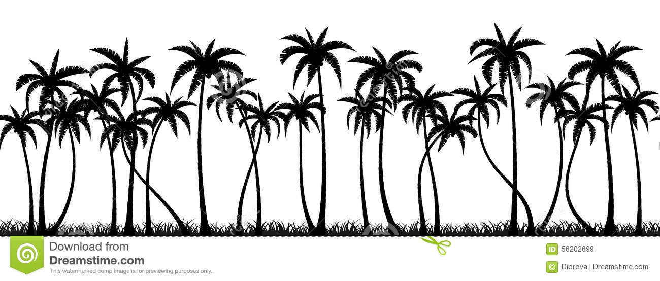 Palms Grove Silhouette Stock Vector.