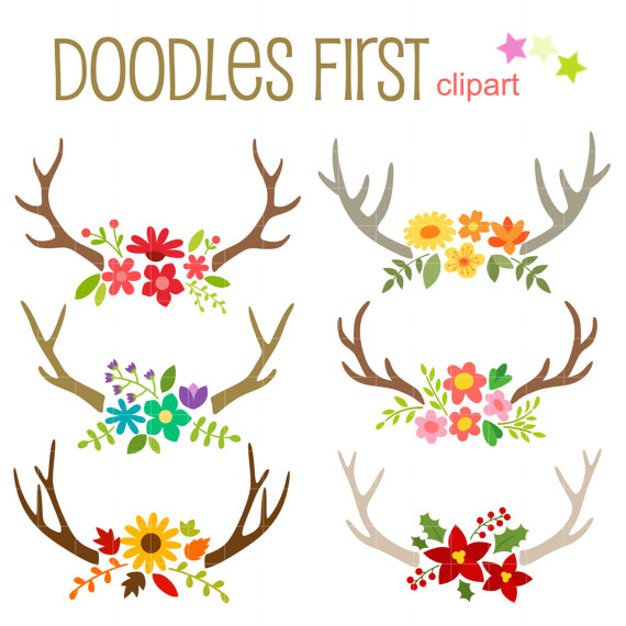 Floral Antlers Digital Clip Art for Scrapbooking Card Making.