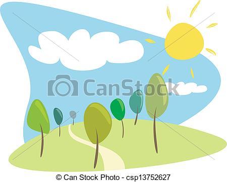 Ilustraciones de Vectores de arboleda, vector, soleado, día.