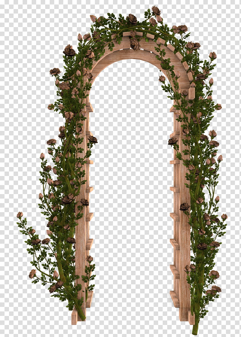 UNRESTRICTED Garden Rose Arbor, brown and green wooden.
