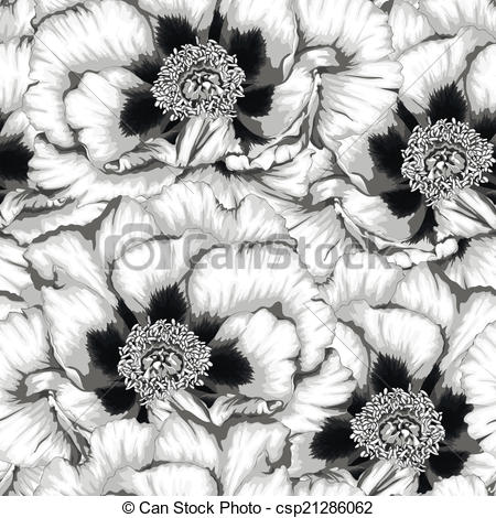 Clip Art Vector of Beautiful monochrome, black and white seamless.