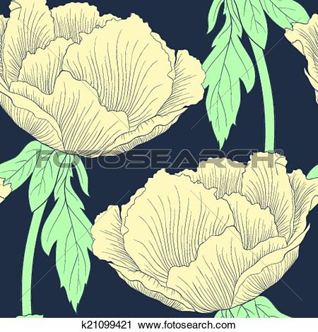 Clipart of Beautiful seamless background with flowers Plant.
