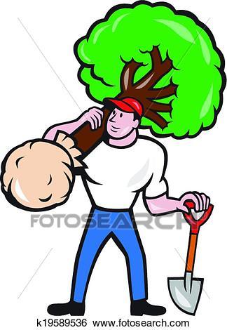 Gardener Arborist Carrying Tree Cartoon Clip Art.