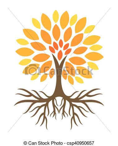 automne, arbre, illustration.