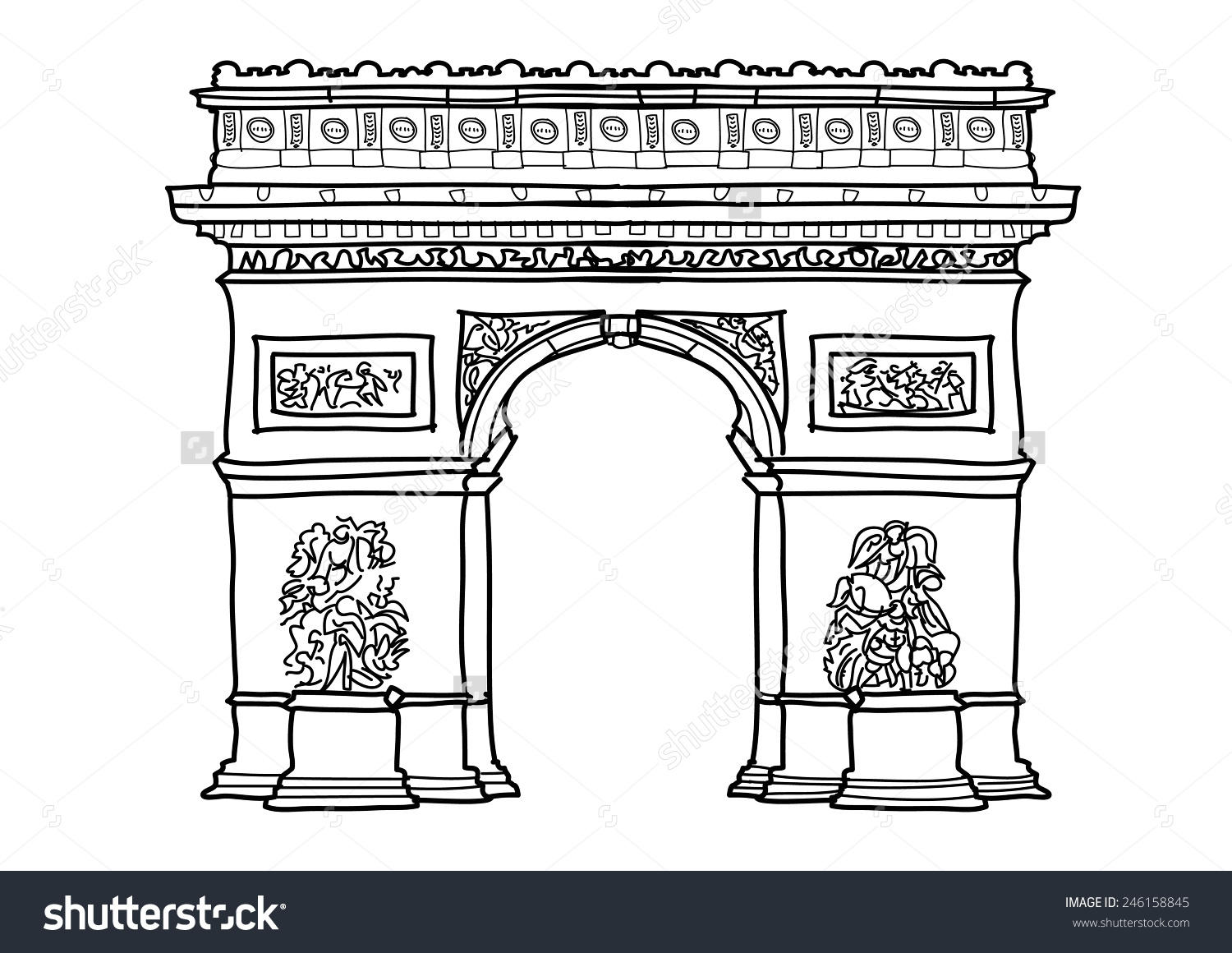 Arc De Triomphe Black and White Clip Art.