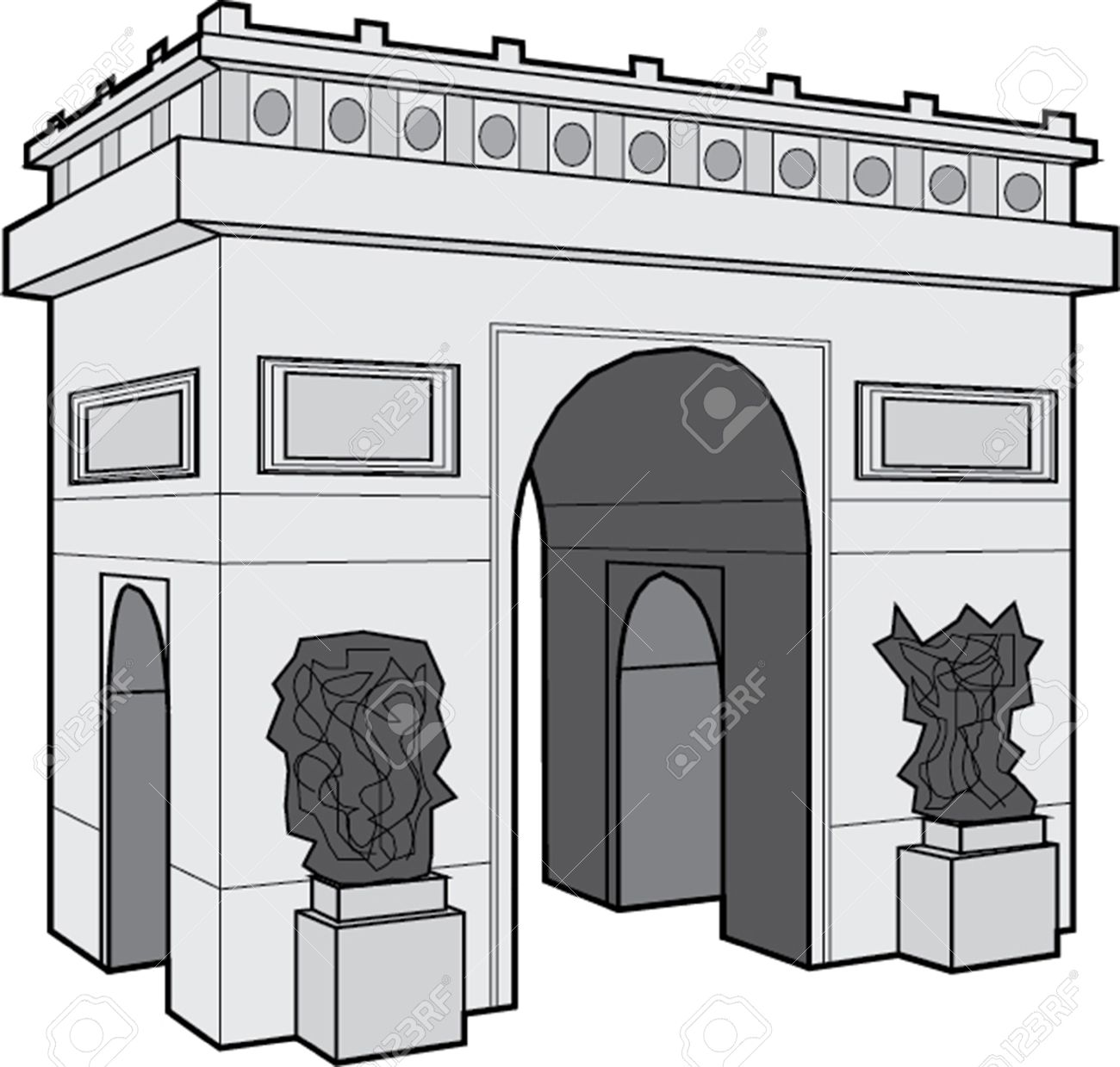 Arc De Triomphe Black and White Clip Art.