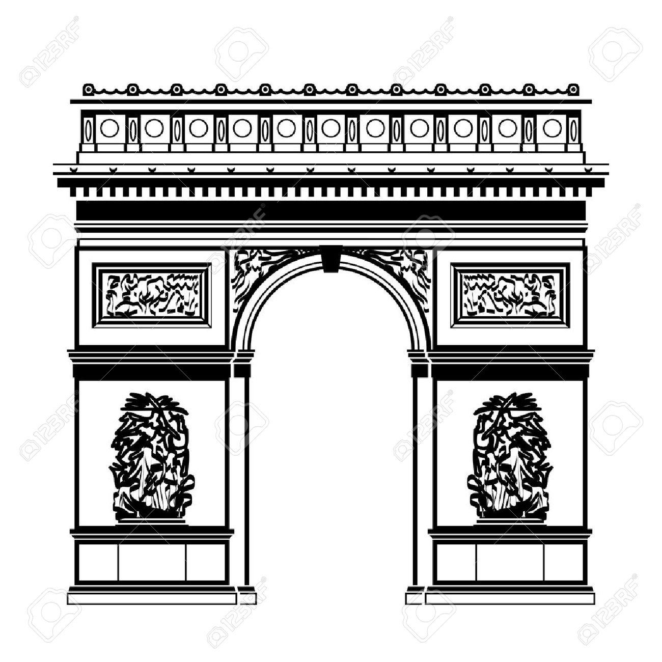French Arc De Triomphe In Blackandwhite Color. Silhouette Of.