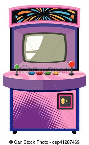Arcade game machine in purple box.