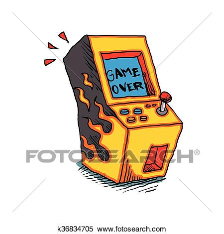 Vintage Arcade game Machine Clipart.