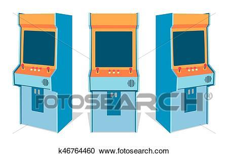 Arcade game machine on white background Clipart.