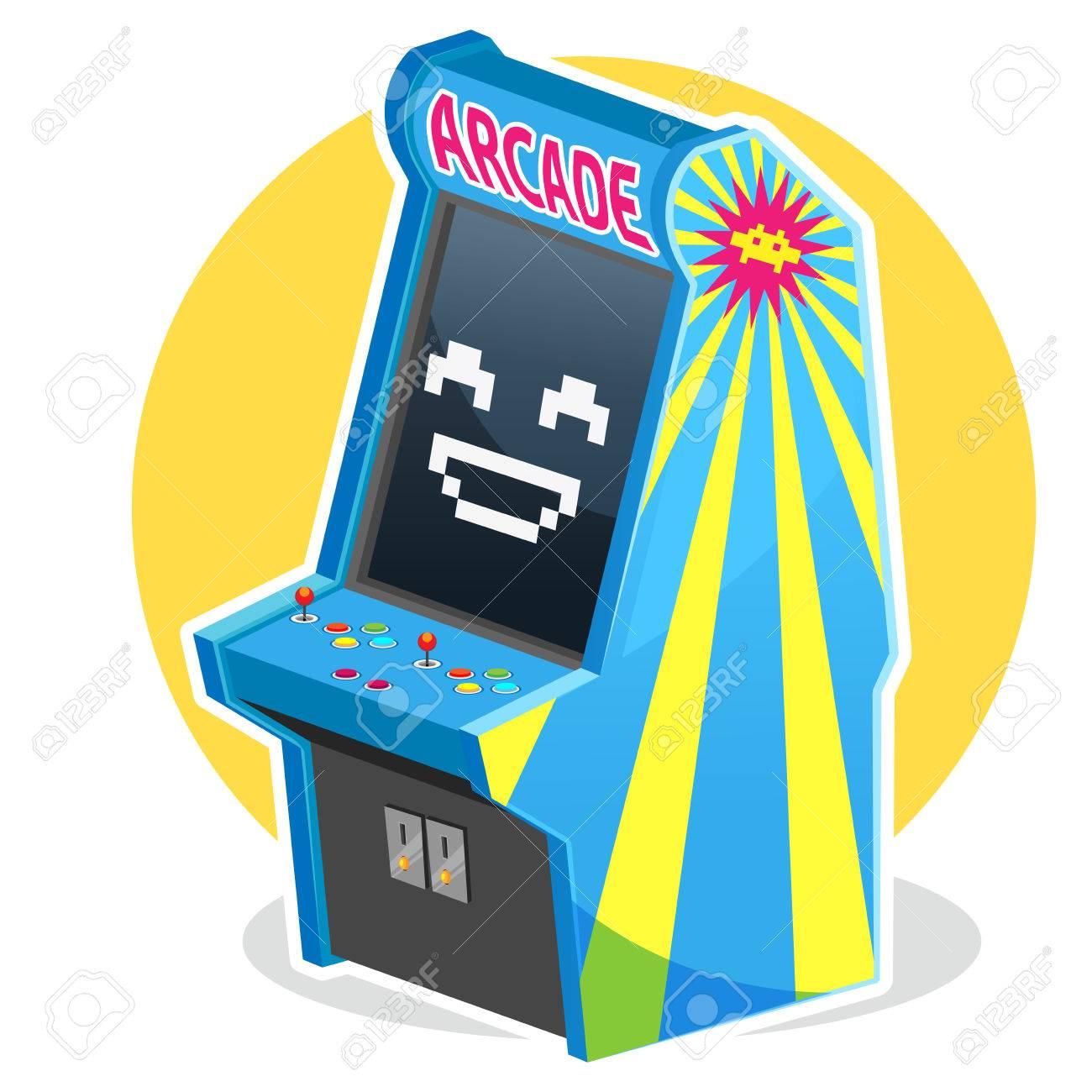 Blue Vintage Arcade Machine Game.