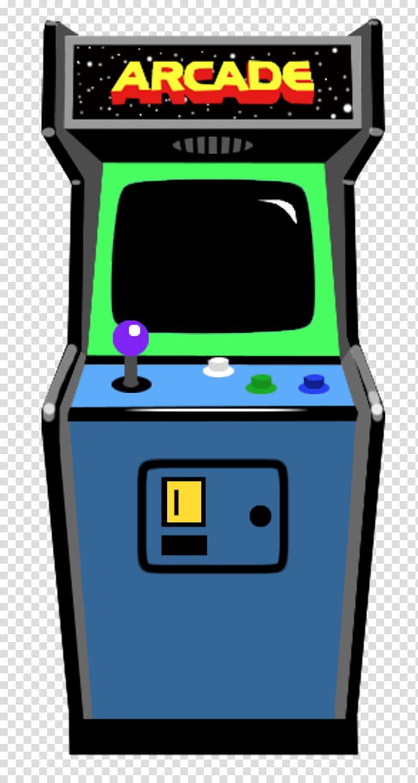 Blue, green, and black arcade game art, Asteroids Galaga.